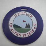 Golfaccessoires mit Werbung, digital bedruckt;