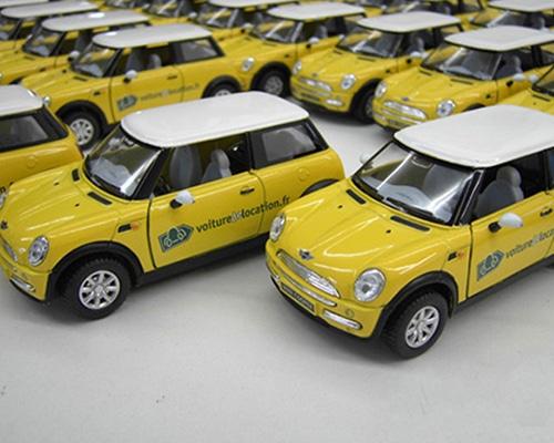 Modellautos als Werbeträger, bedruckt im Tampondruckverfahren