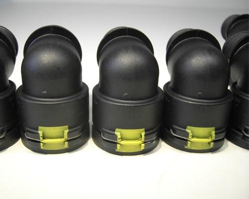 Markierung für den Anschluß von Schläuchen an Winkelrohrkappe/Schlauchanschluss