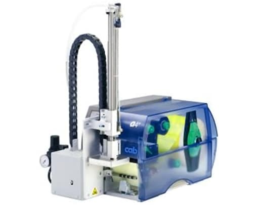 Applikator am Etikettendrucker zum direkten Aufbringen der Eitiketten auf die Ware