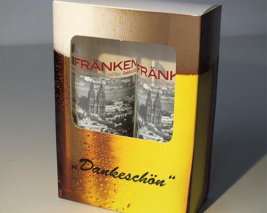 Geschenkkarton für Kölschgläser im Digitaldruck bedruckt.