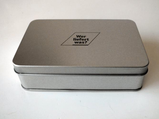 Blechdose mit Lasergravur als Geschenkverpackung